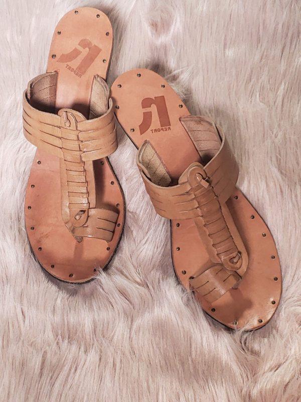 tan report sandals
